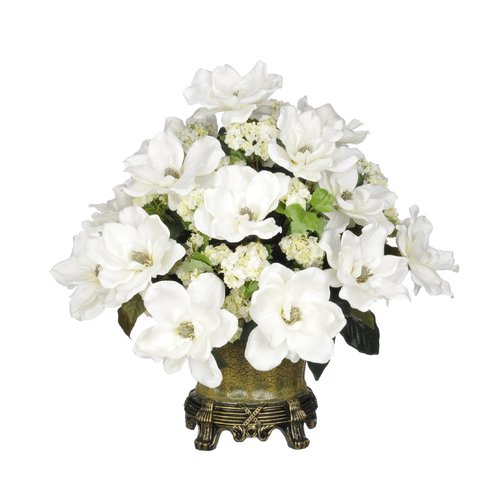 House of Silk Flowers Inc. Artificial Cream Magnolia with Snowball