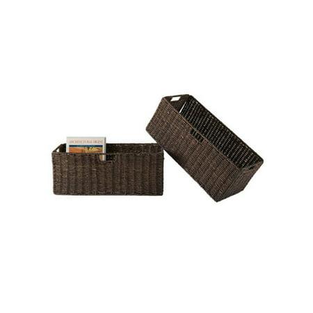 Granville Set of 2 Foldable Corn Husk Baskets, Large, Brown