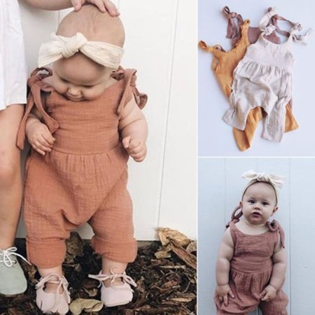 Hot Newborn Cute Baby Girl Sling Cotton Jumpsuit Leotard Jumpsuit Set Sunsuit 0-24 M