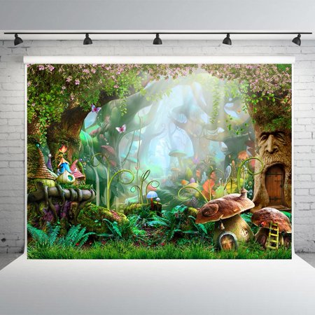 GreenDecor Polyester Fabric 7x5ft Fairy Tale Forest Photo Backdrops Mushrooms Photography Booth Background for Spring - Backdrop For Photo Booth