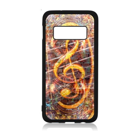 Musical Treble Clef Brick Wall Art Print Design Black Rubber Case Cover for the Standard Samsung Galaxy s10 - Samsung Galaxy s10 Accessories - Samsung Galaxy s10 Case