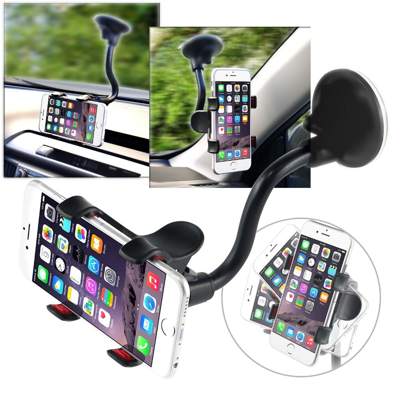 Insten Universal Car Mount Suction Phone Holder Dashboard Windshield Cradle For Cell Phone Smartphone Apple iPhone X 8 Plus 7 6 SE 5S iPod Samsung Galaxy S9 S9+ Plus S8 S7 J7 J3 LG Stylo 3 G6 V30 GPS