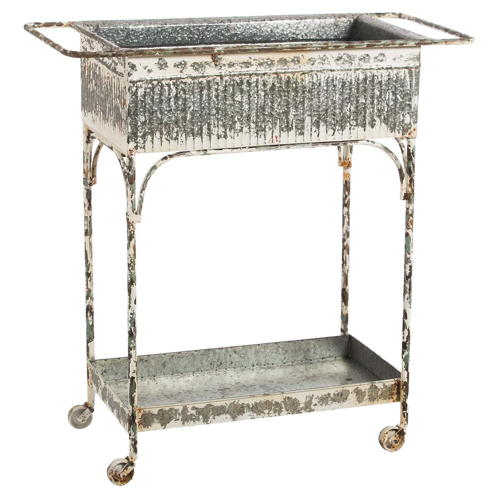 Evergreen Enterprises White Washed Galvanized Metal 2-Tier Cart