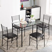 Ktaxon 5 PC Dining Set Glass Top Table and 4 Chairs Kitchen Room Furniture