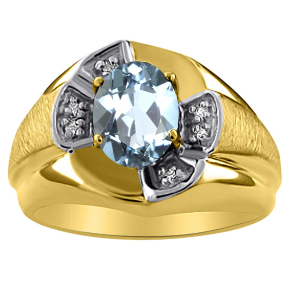 Unisex Diamond & Aquamarine Ring 14K Yellow or 14K White Gold by Elie Int.