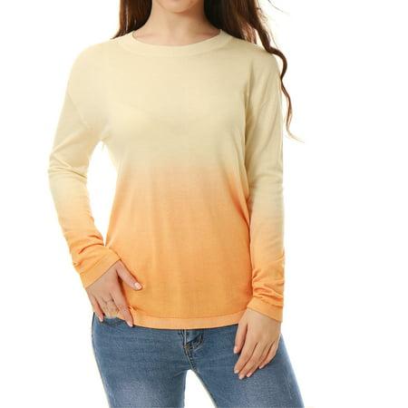 Allegra K Women's Crew Neck Jersey Dip Dye Sweater Beige (Size M)