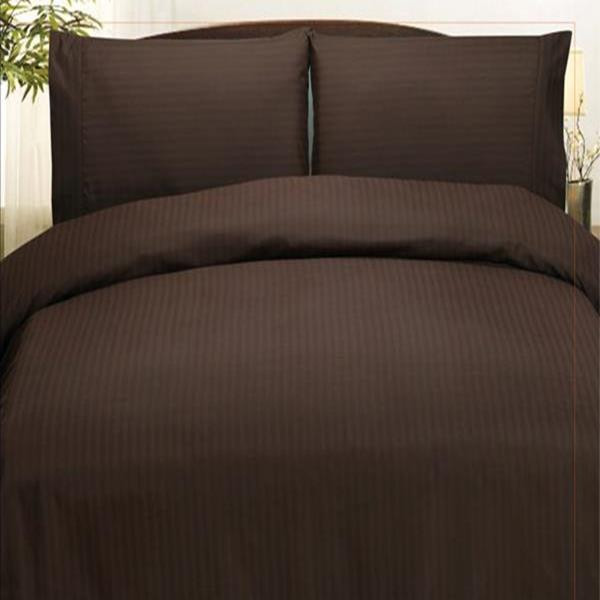 Embossed Dobby Stripe Microfiber Bed In A Bag Set Queen King - Chocolate