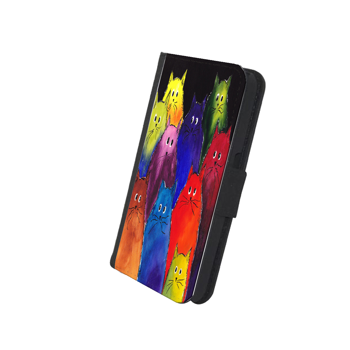 KuzmarK Samsung Galaxy S5 Wallet Case - Very Colorful Two-Toned Silly Maine Coon Kitties Black Background  Art by Denise Every
