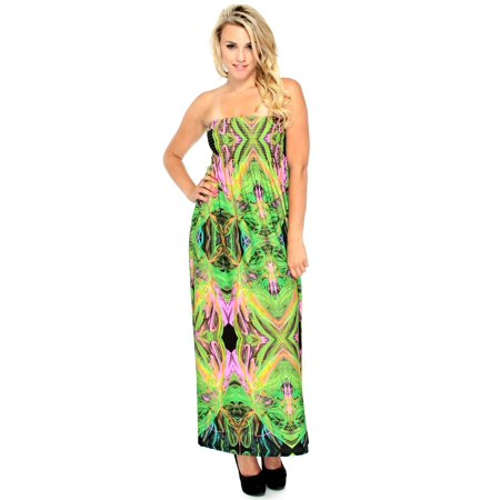 Long Maxi Dress in Neon Multicolored Print,Smocked,Green/Multi,S - Neon Glow In The Dark Dresses
