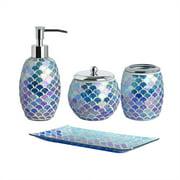 4-Pieces Bathroom Accessory Set Bright-Colored Mosaic Glass Bath Ensemble-Lotion Dispenser/Toothbrush Holder/Cotton Jar/Vanity tray