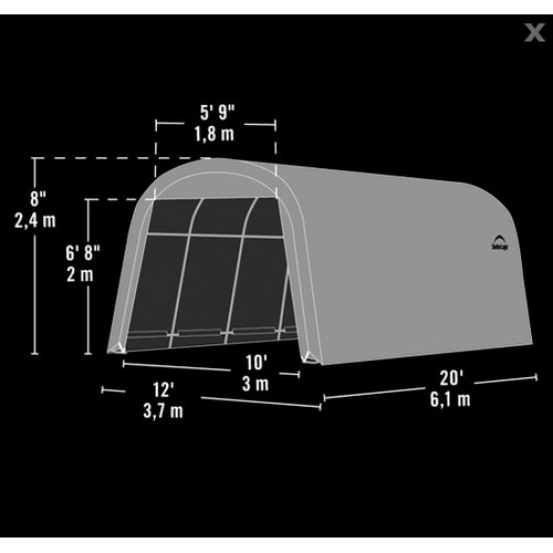 Shelterlogic Garage-in-a-Box 12' x 20' x 8' RoundTop Instant Garage, Gray
