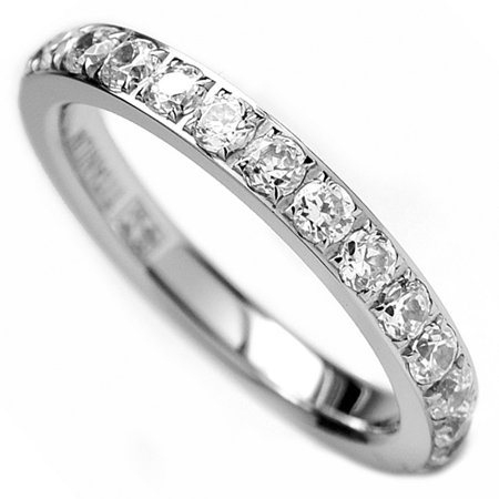 3MM Ladies Titanium Eternity Engagement Band, Wedding Ring with Pave Set Cubic Zirconia Size 4 to (Pave Style Band)