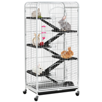 SmileMart 6 Levels Rolling Large Ferret Cage with 3 Front Doors & Pet Bowl & Water Bottle White