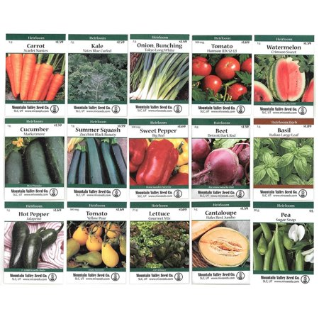 - Heirloom Vegetable Garden Seed Collection – Assortment of 15 Non-GMO, Easy Grow, Gardening Seeds: Carrot, Onion, Tomato, Pea, More…