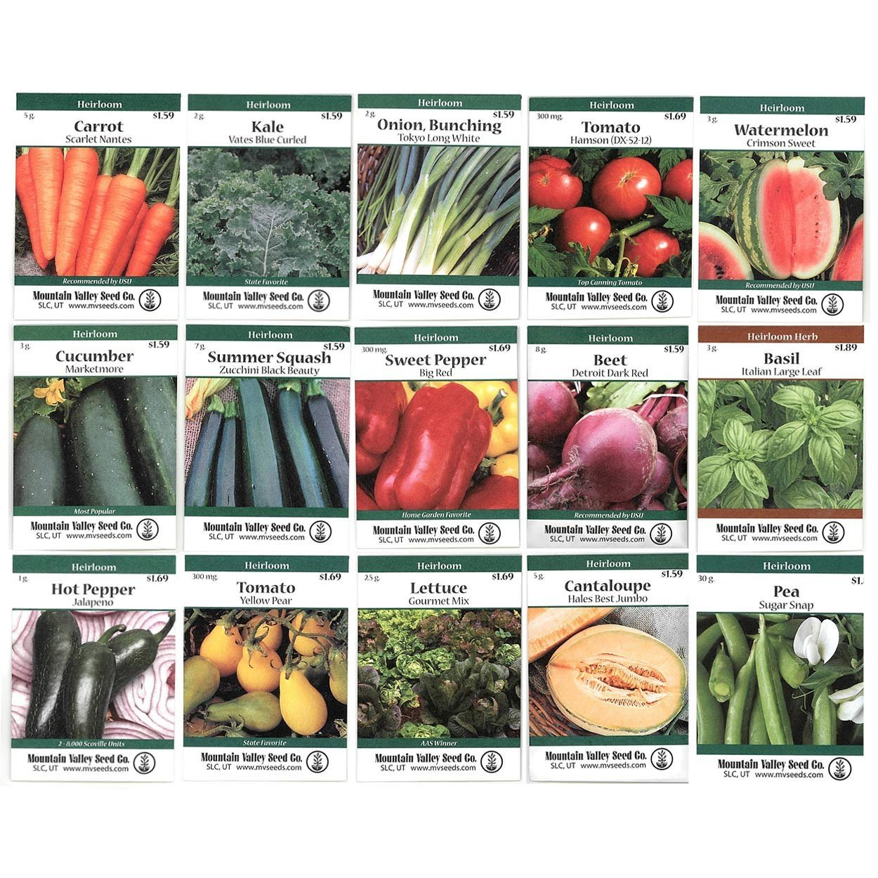Heirloom Vegetable Garden Seed Collection ��� Assortment of 15 Non-GMO, Easy Grow, Gardening Seeds: Carrot, Onion, Tomato, Pea, More���