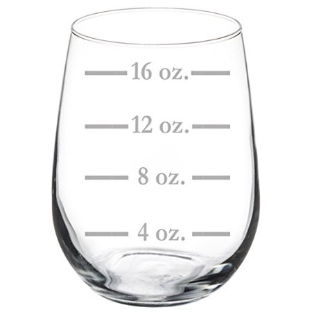 Wine Glass Goblet Measuring Cup Ounces (17 oz Stemless) - Wine Cups