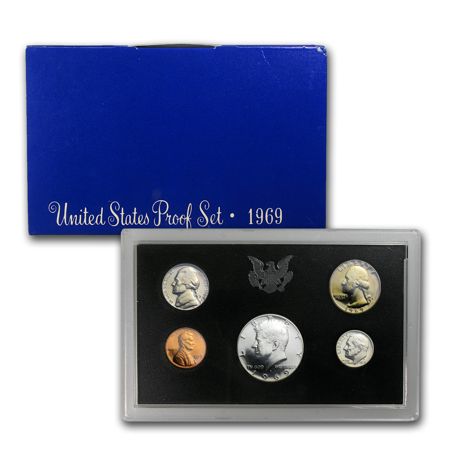 1969 SILVER  PROOF SETS IN BLUE BOX FROM MINT 10