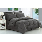 Ultra Lush King Size Down Alternative 8 Piece Bed in a Bag Embossed Stripe Comforter Set - Grey