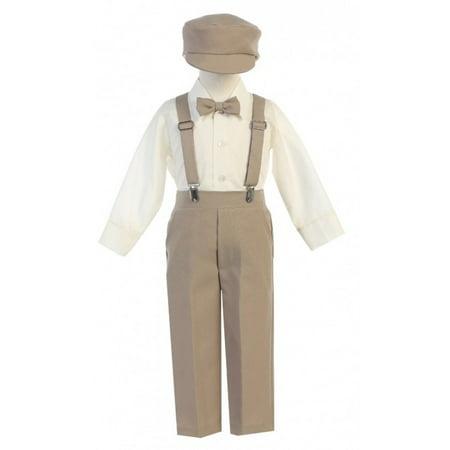Boutique Clothes For Boys (Little Boys Khaki Adjustable Clip-On Suspender Pants Hat Set)