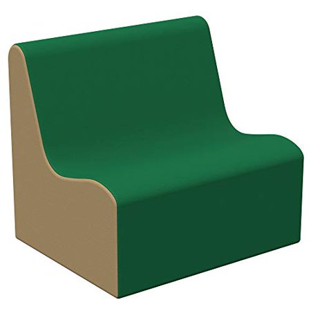SoftScape Wave Preschool Sofa Seating, Play Soft Supportive Foam Furniture for Kids for Bedrooms, Playrooms, Classrooms - Green/Sand