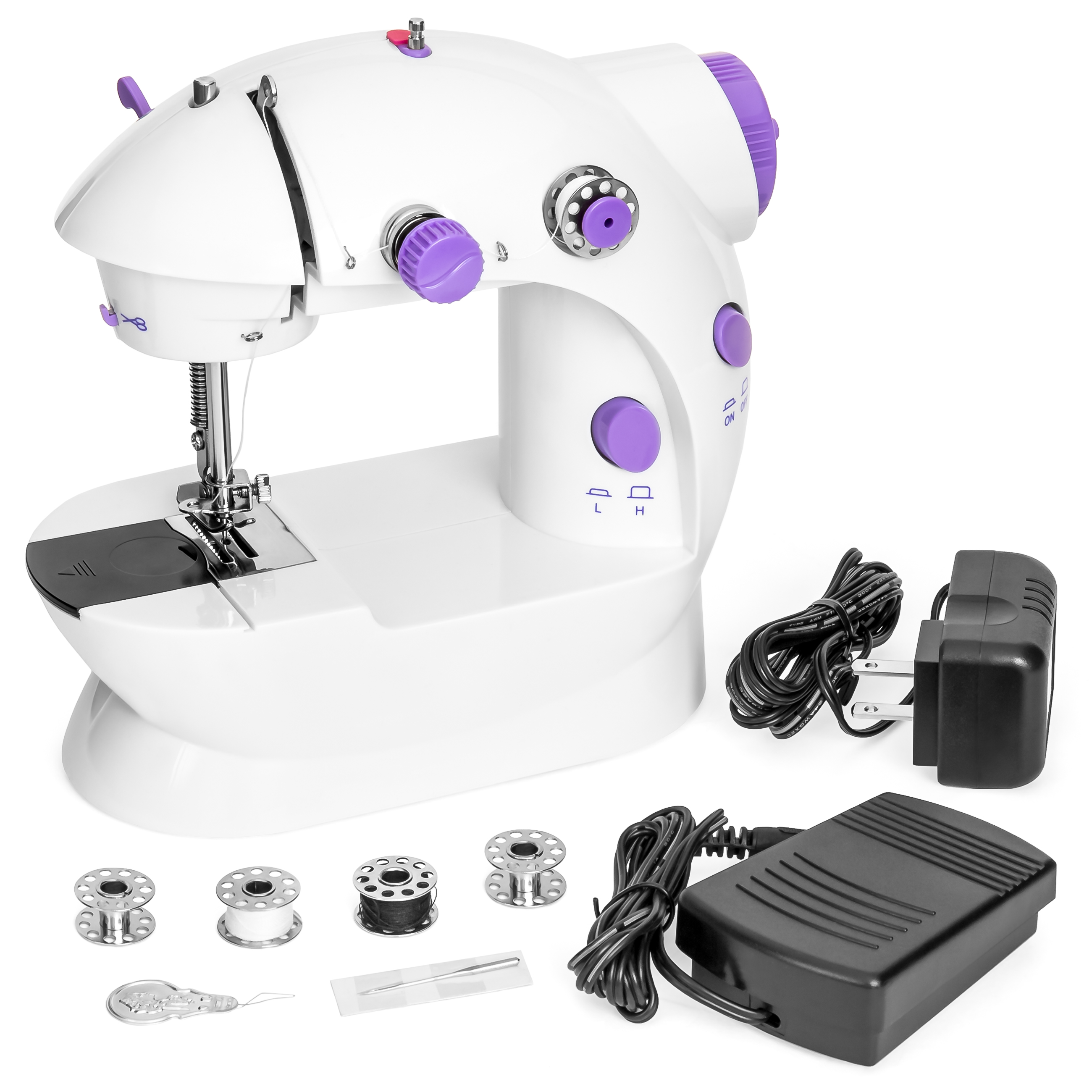 Best Choice Products Portable Speed Adjustable Mini Lightweight Sewing Machine w/ Pedal & Push Button Switch - White