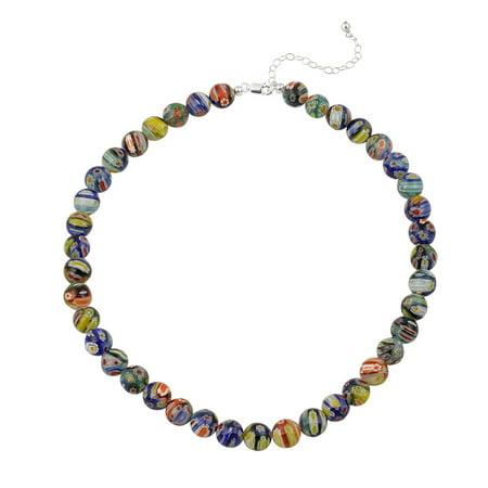 Murano Millefiori Flower Ring - Venetian Murano Glass Beaded Millefiori Flower Necklace