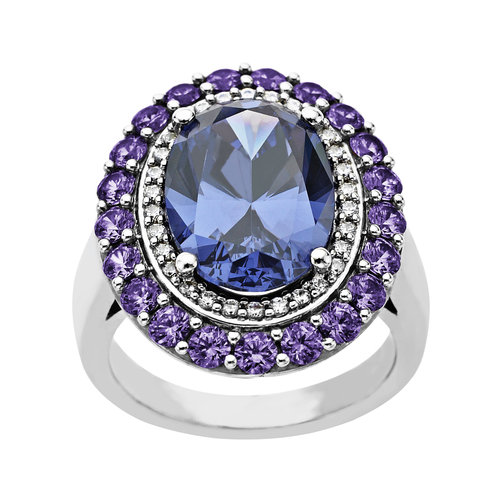 Ring with Arctic Blue, Purple and White Swarovski Zirconia in Sterling Silver