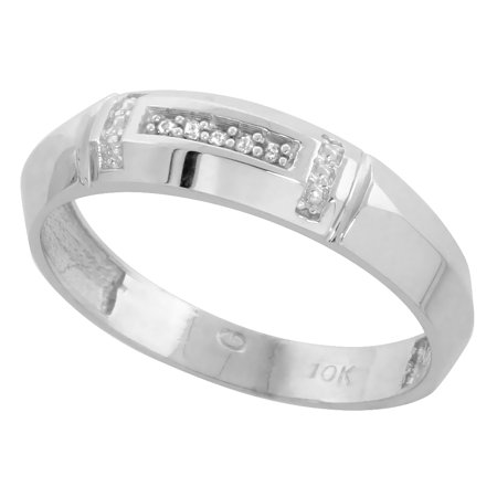 Cut Diamond Ring Band - 10k White Gold Mens Diamond Wedding Band Ring 0.03 cttw Brilliant Cut, 7/32 inch 5.5mm wide