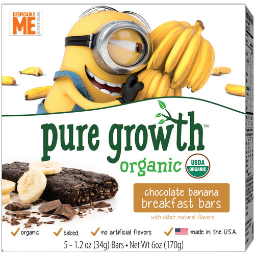 Pure Growth Organic Despicable Me Minions Chocolate Banana Breakfast Bars, 1.2 oz, 5 count