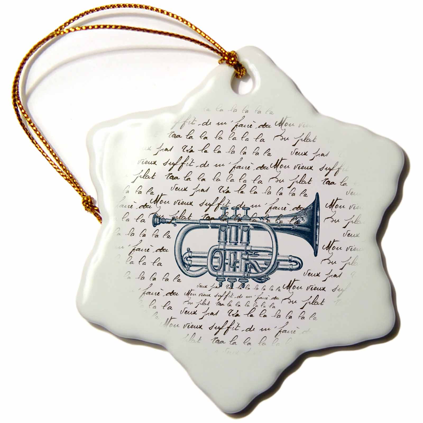 3dRose Vintage Music Trumpet with song, Snowflake Ornament, Porcelain, 3-inch