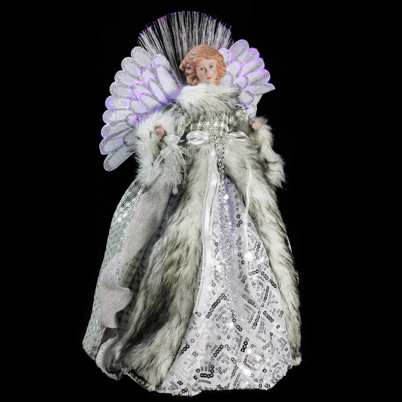 "16"" Lighted Fiber Optic Angel in Silver Gingham Coat Christmas Tree Topper - image 1 de 2"