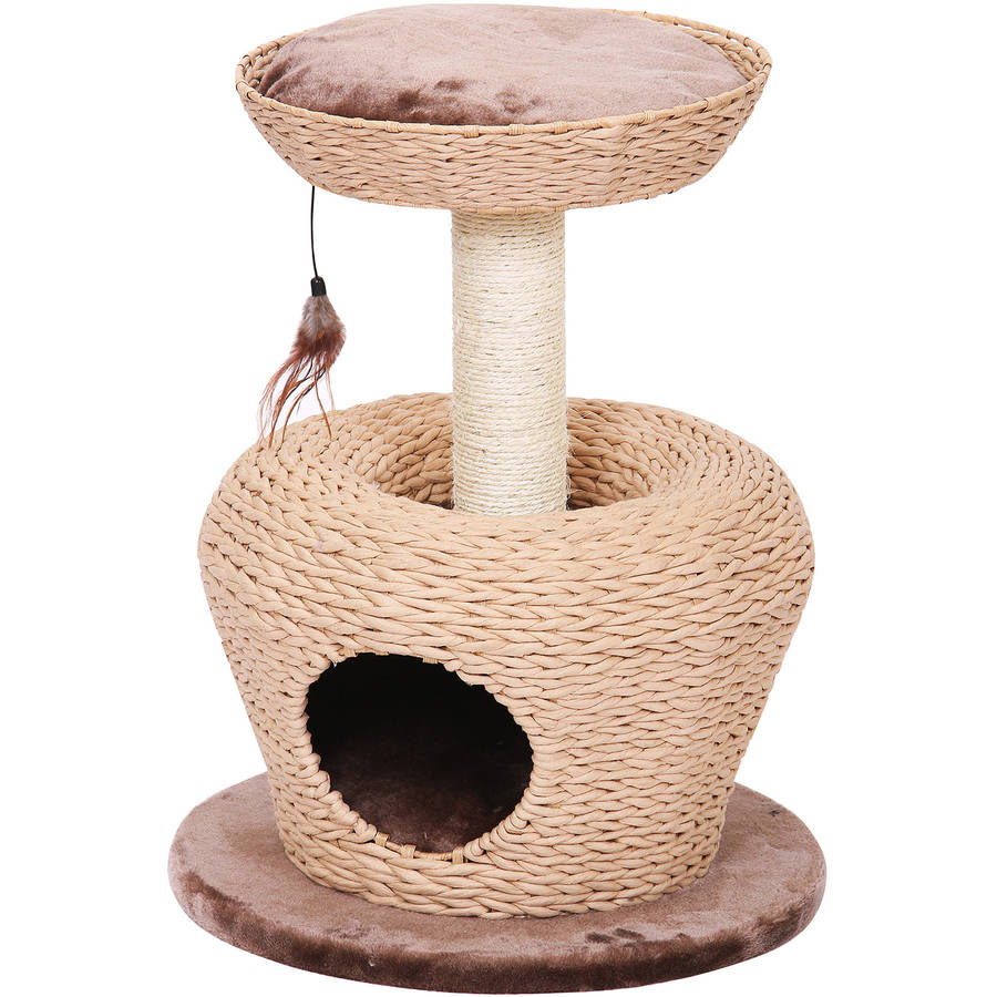 Petpals Group Jump Up Apple Shaped Cat Condo With Lookout Perch