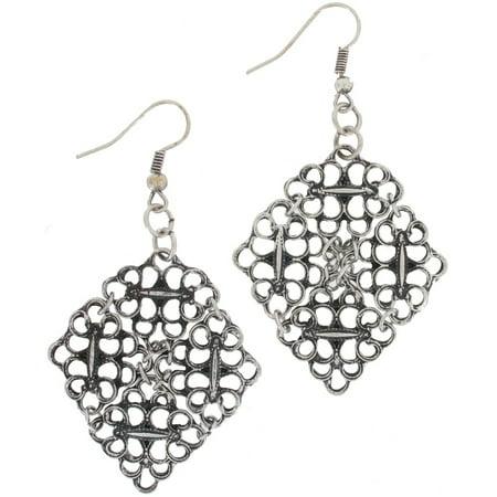 Antiqued Silver Tone Filigree Openwork Squares Dangle Earrings