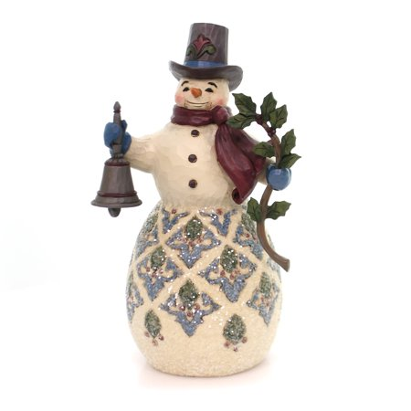 Jim Shore HWC Bright and Merry Victorian Snowman with Bell Figurine 4058753 - Snowman Figurines