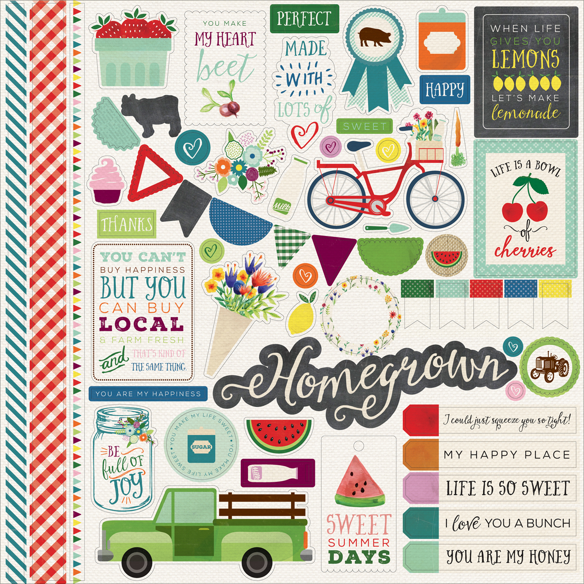 Homegrown Cardstock Stickers 12 Inch X 12 Inch-Element