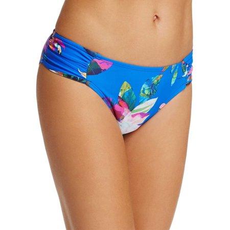 La Blanca Havana Floral Shirred Hipster Bikini Bottom 12 Blue Womens Swimsuit