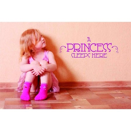 Here Vinyl (A Princess Sleeps Here – Peel & Stick Sticker - Vinyl Wall Decal – 22 Colors Available : 6 Inches X 12 Inches )