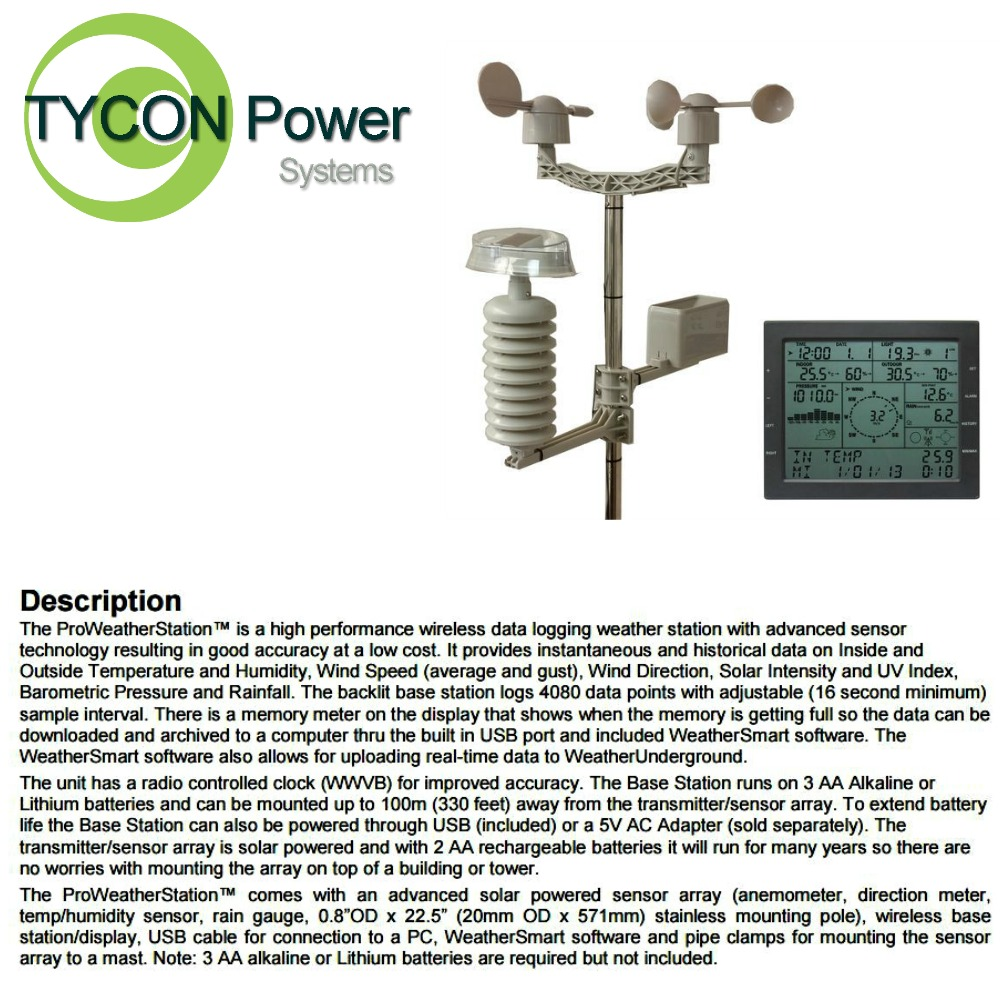 Tycon TP2700WC ProWeatherStation Data Logging Wireless Weather Station by