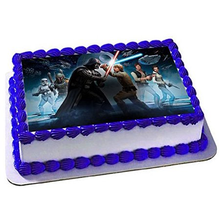 Star Wars emblem Cake Edible 1/4 Sheet Image Topper Birthday Party Favor Movie (Halloween Birthday Sheet Cake Ideas)