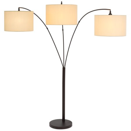 Best Choice Products 3-Light Arc Floor Lamp w/ Infinite Dimming, Antique Bronze, Woven Beige (Best Superman Story Arcs)