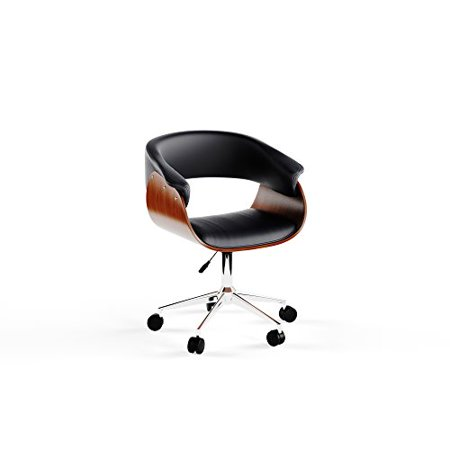 Mid Century Modern Wood Upholstered Seat Executive Office Chairs with Chrome Base - Includes Modhaus Living Pen (Black) ()