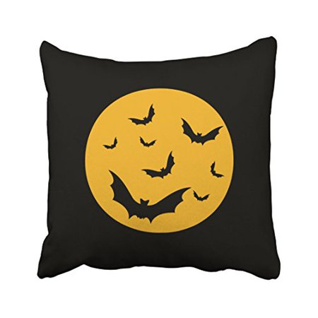 WinHome Vintage Fashion Halloween Bats Yellow Moon Simple Pattern Polyester 18 x 18 Inch Square Throw Pillow Covers With Hidden Zipper Home Sofa Cushion Decorative Pillowcases - Simple Halloween Martini