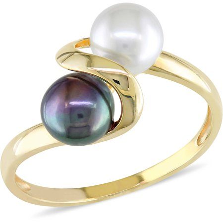 5.5-6mm Black and White Button Cultured Freshwater Pearl 10kt Yellow Gold Bypass Ring