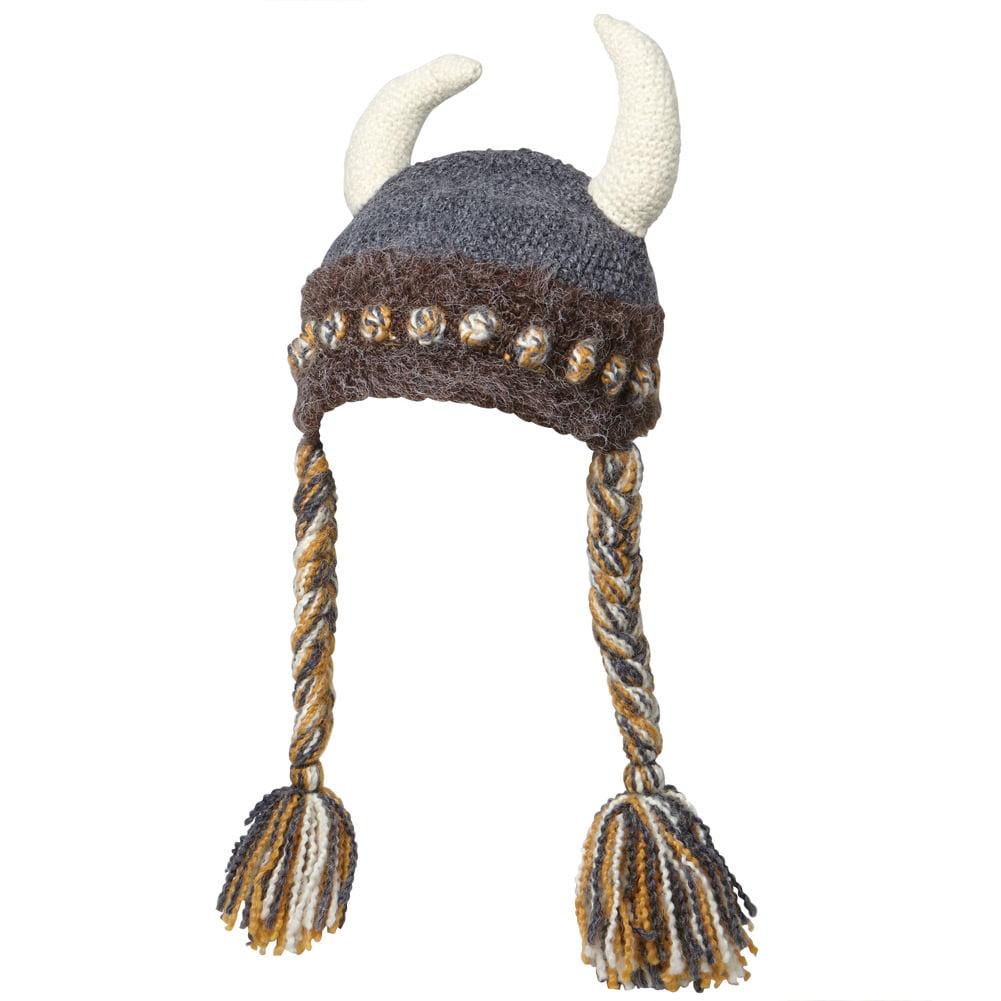 Unisex Adult Fun Freya Viking Hat - Hand Knit with Viking...