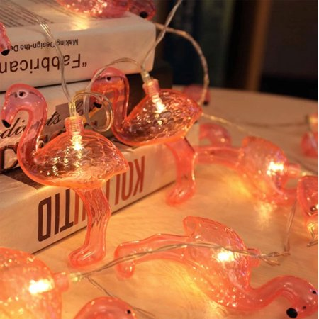 Pink flamingo light string. Battery-Operated Flamingo String Light (10 LED light, Runs on 2 AA batteries);Total Length: 60