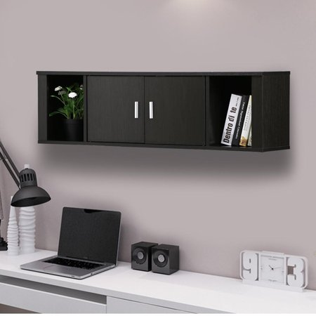 Pleasant Yaheetech Wall Mounted Floating Media Storage Cabinet Hanging Desk Hutch 2 Door Compartment Home Office Furniture Black Download Free Architecture Designs Scobabritishbridgeorg