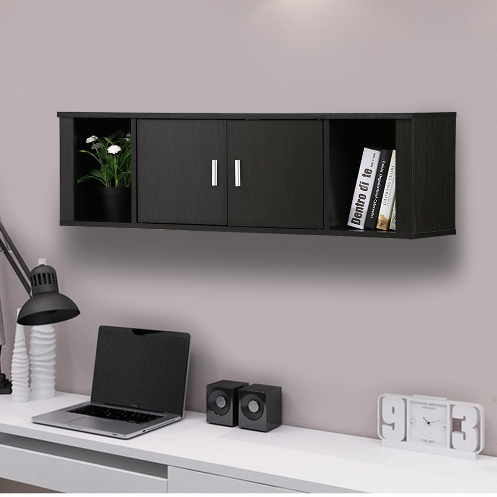 Yaheetech Wall Mounted Floating Media Storage Cabinet Hanging Desk Hutch 2  Door U0026 Compartment Home Office Furniture ( Black )   Walmart.com