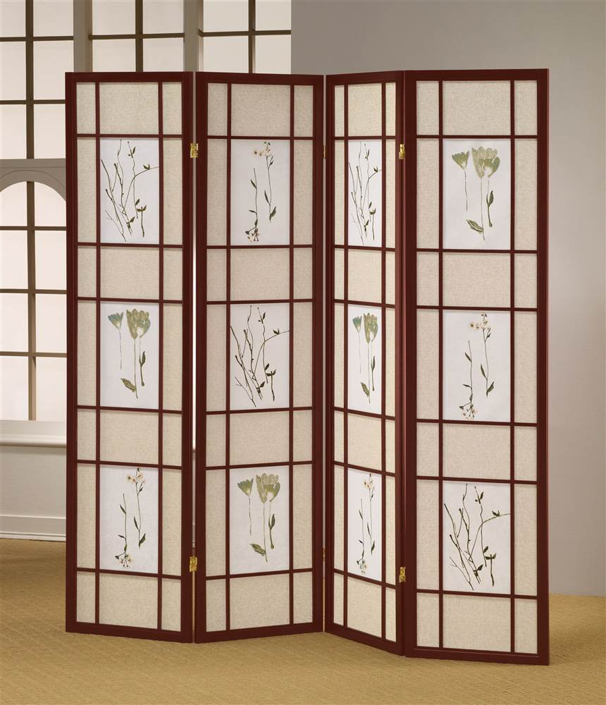 shoji room divider screen in cherry