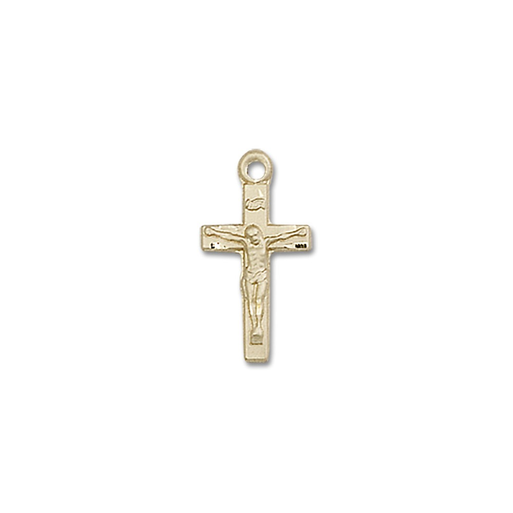 Bliss Solid 14K Gold Saint St. Crucifix Cross Medal 5/8 x...
