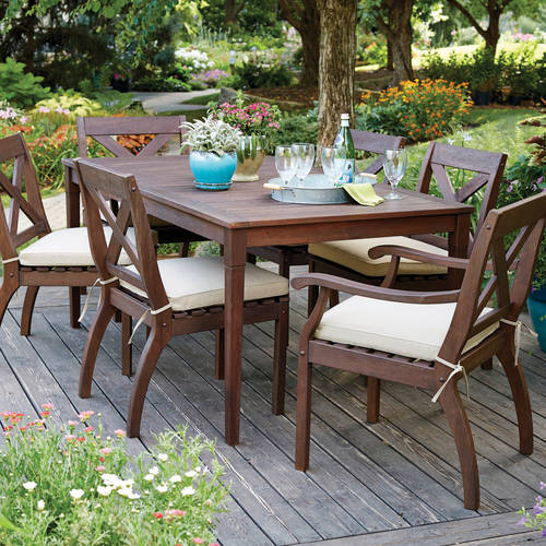 Better Homes and Gardens Cawood Place 7-Piece Dining Set With Natural Olefin Seat Pads, Expresso Finish